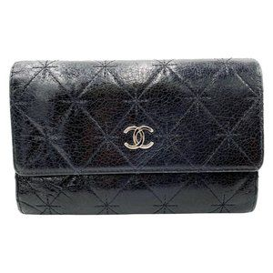 Black Cc Quilted Small Flap Wallet